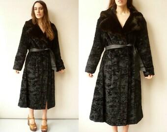 1960's Vintage Faux Astrakhan Fur Princess Swing Coat Jacket Size Large