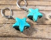 SALE - Star Turquoise Howlite Magnesite stone earrings - silver leverback simple blue gemstone jewelry - women teen girl - my soul can dance