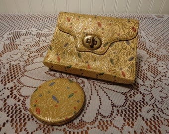 Vintage Lin Bren Brocade Clutch Purse and Powder Compact  -  16-049