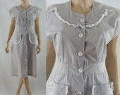 Vintage Fifties Dress - 1950s Grey Cotton Dress - 50s Gray Day Dress - Small 50s Dress
