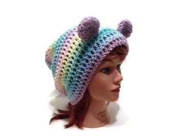 Rainbow Bear Hat, Pastel Rainbow Bear, Slouchy Bear Hat, Pastel Bear Hat, Bear Ears Beanie, Kawaii Hat, Bear Cosplay, Bear Costume, Kawaii