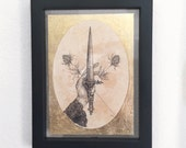 Dagger & Thistles Limited Edition Metallic Gold Leaf Tea Stained 5x7 Floral Art Print FREE shipping to usa customers!