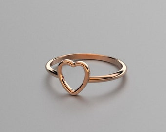 Solid Rose Gold Heart Ring - Valentine Gift for Her, Wife, Anniversary. 14k, 18k Gold Stacking Rings