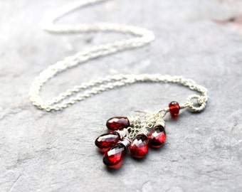 Garnet Necklace, Valentines Necklace, Gift for Wife, Sterling Silver Necklace, Red Gemstone Necklace, Cluster Pendant Necklace