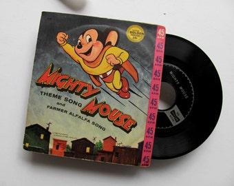 Vintage Mighty Mouse Record Super Hero Farmer Alfalfa Golden Record Vinyl Terrytoons Children Music Mitch Miller Cartoon Nursery Party Decor