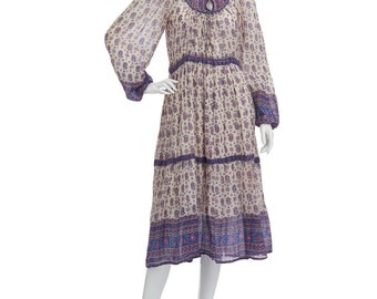 Vintage 70's Indian Sheer Cotton Gauze Ethnic Floral Bib TIES Puff Sleeves Empire Waist Lurex Hippie Boho Festival Tiered Midi DRESS
