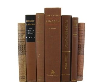 Brown Vintage Books, Decorative Books , Book Home Decor ,  Vintage books for Wedding Decor