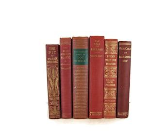 Shades of Red  Maroon Decorative Books , Vintage Books , Home Decor , Old Books , Vintage Photo Props , Table Setting , Wedding Decor