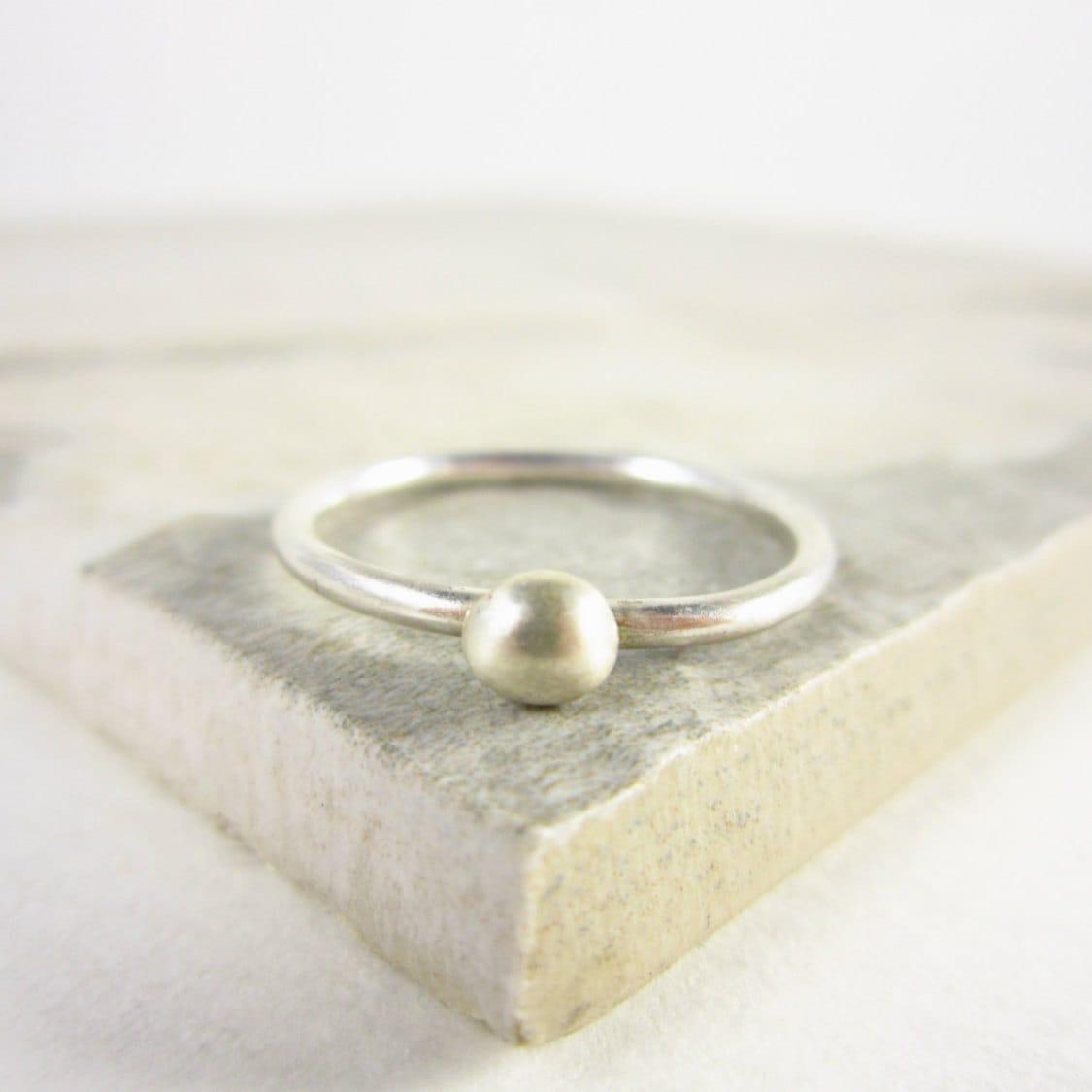 silver stacking rings simple ring pebble rings rustic