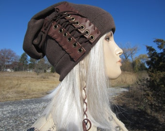 Slouchy Beanie Brown Leather Corset Lace Ties Acid Washed Cotton Knit Hat Edgy Bohemian  Musician Rocker Clothing Vacationhouse A1348