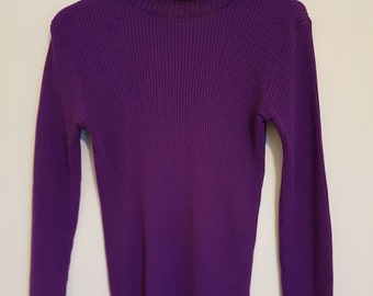 Vintage 1980's bright purple ribbed skivvy high neck top Vintage Clothing by VintageTwists