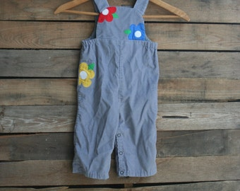 Vintage Gray Corduroy Children's Romper with Flowers Size 9-12 Months