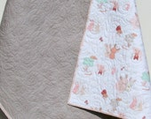 SALE Baby Quilt Girl Bedding Littlest Blanket Baby Bedding Crib Shabby Chic Pastels Coral Mint Green Grey Pink Bunnies Flowers Ready to Ship