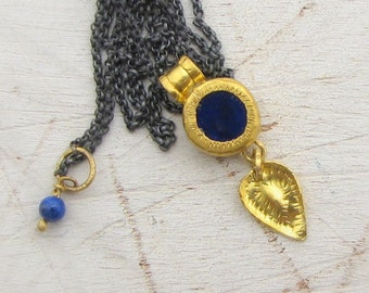 Lapis Lazuli Gold Necklace - 24k Solid Gold Pendant - Lapis Lazuki Necklace