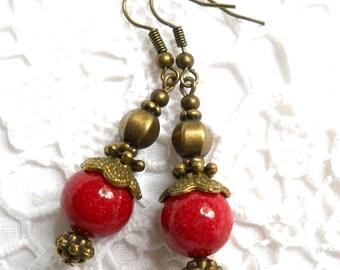 red gypsy earrings red bohemian earrings red jade dangle earrings red earrings red stone earrings red jade earrings red boho earrings