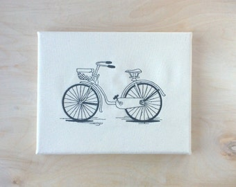 Embroidered Canvas Wall Art - Bicycle Cruiser