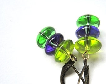 summer garden - earrings with shiny glass buttons in summer garden colors