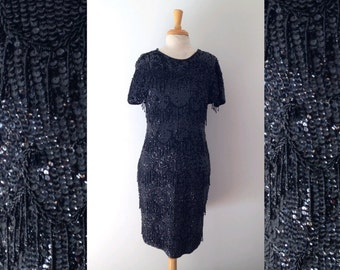 1980s does the 1950s black sequin and bead  embellished cocktail dress size large