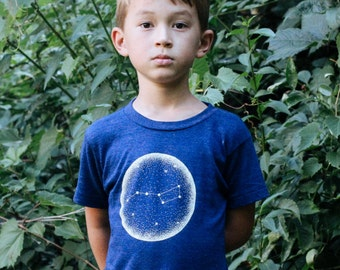 Little Dipper Toddler Triblend Indigo T-shirt. Unisex Constellation of Stars Kids Shirt that glows in the dark. Made in the USA.