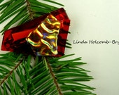 SALE Dichroic Fused Glass Barrette of Red and Orange  2 1/4 inches in width 1 1/2 inch clasp
