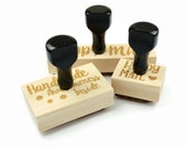 Custom Made Rubber Stamp - Your Logo, Drawing or Design - Wood Mounted and Top-Engraved w/Handle Rubber Stamp