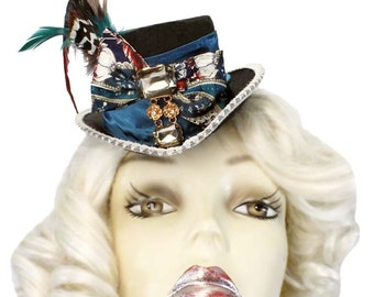 Mini Top Hat Fascinator Teal In Bloom Blue Victorian Steampunk Tea Party Cosplay