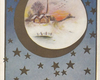 Peace On Earth- 1900s Antique Postcard- Good Will To Men- Christmas Decor- Edwardian Holiday- Moon and Stars- Paper Ephemera