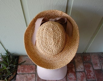 Vintage Scala Women's Crocheted Raffia Hat Natural Fibers Straw Sun Hat Bow Spring Fashion Summer Boat Travel Beach Boating Boho Hippie