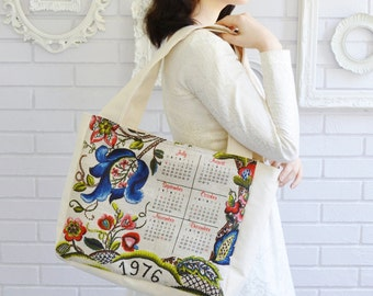 Handmade and Vintage 1976 Calendar Tote Bag with Zipper and Lining