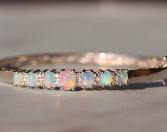 STUNNING Genuine Welo Opal Sterling Silver Bangle Bracelet,Hinged Bangle,Clamper Bracelet,October Birthstone,Gift,Precious Solid Opal,OOAK