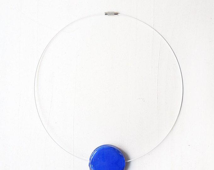 Blue bead necklace - cobalt blue lampwork necklace - blue glass necklace - blue flat round bead necklace