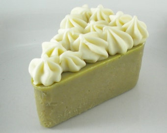 """Lime """"Pie Slice"""" Soap- Naturally Colored and Scented Cold Process Soap"""