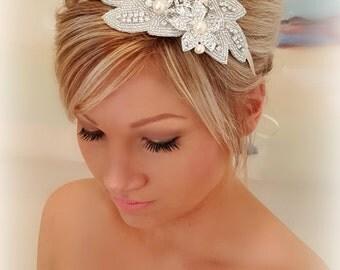 Bridal Hair Piece, Weddings, Rhinestone pearl headband, floral Headband, Wedding Headband, Bridal Hair Piece, Bridal Headpiece, Ribbon