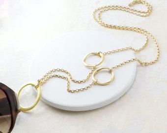 Modern Geometric Gold Eyeglass Necklace, Gold Eyeglass Loop, Eyeglass Holder Necklace, Eyeglass Chain, Gold Glasses Loop, For Her, Eyewear