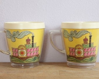 Vintage 1960's Sunshine Tugboat Yellow Plastic Thermo Cups 2