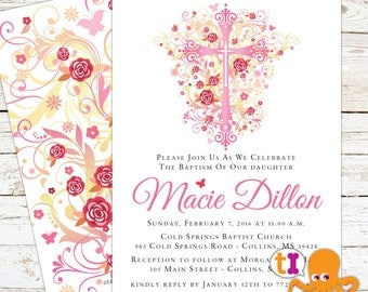 Baby Dedication, Baptism or First Communion Invitation with CROSS and Roses
