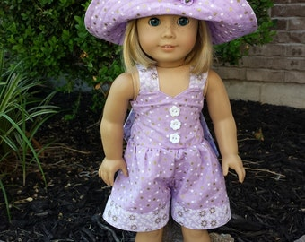 """American Girl Doll Clothes, 3 Pieces, Retro Romper, Hat and Shoes, Lilac, Made to Fit American Girl and Similar 18"""" Dolls"""