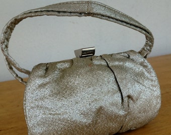1940s Garay Silver Evening Bag / 40s Formal Handbag Silver Lamay with Satin lining interior / Glamour Hollywood Style