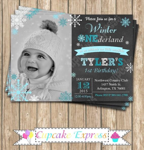 First Birthday Party Invitation Boy Chalkboard: Winter Wonderland INVITATION, First Birthday Invitation