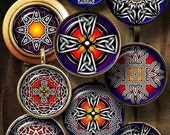 Celtic Cross Ornaments - Digital Collage Sheets - 20mm, 18mm, 16mm, 14mm, 12mm - Jewelry supplies for Pendants, Mini Bottle Caps - CG-991