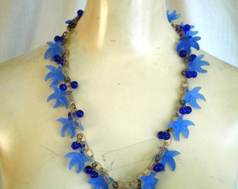1930's Vintage Glass and Celluloid Starfish Charm Necklace Novelty Necklace Oceanic Theme