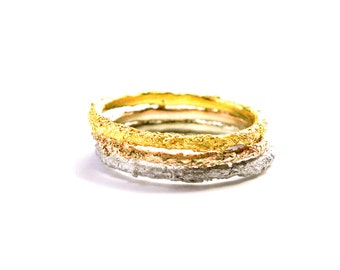 Stackable rings set in Solid gold 18k-Certified Fairmined yellow gold,red gold & white gold-Original stacking rings textured-Positive luxury