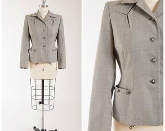 Vintage 1940s Suit Jacket • Admirable Traits • Grey 40s Vintage Tailored Jacket Size Medium