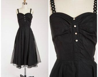 Vintage 1950s Dress • Resplendent Invitation • Black Chiffon Early 1950s Party Dress with Rhinestones Size Small