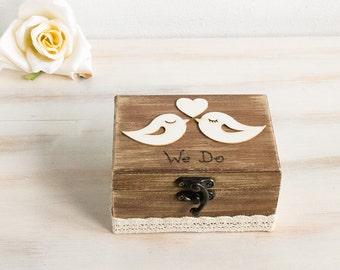 Birds Ring Bearer Box Birds Wedding Ring Box We Do Ring Bearer Box Custom Ring Bearer Box  Pillow Alternative Rustic Ring Box Maid Of Honor