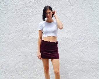 High Waist Burgundy Velvet Buckle Skirt