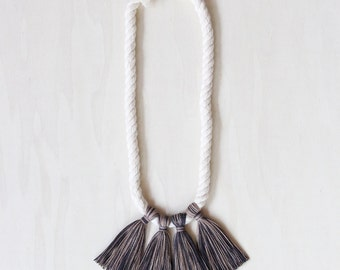 GAMAY necklace - handspun cotton rope with natural dye fringe tassels