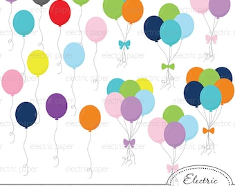 Balloons Clip Art - jpg and png files - eps file balloons and bunches of balloons - personal and small commercial use ok