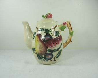Vintage TUSCAN FRUiT TEAPOT Tea Party Majolica Coffee Pot