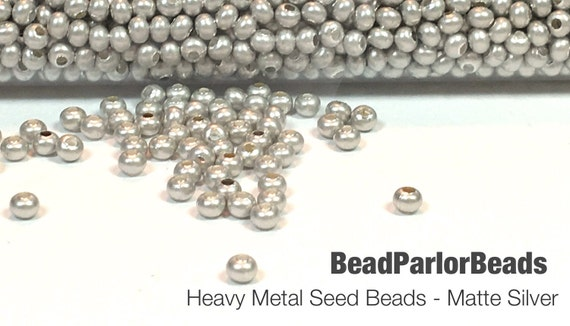 Matte silver plated metal seed beads size 8 0 by beadparlorbeads